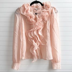 ASOS Vero Moda Pink Ruffle Button Long Sleeve Top